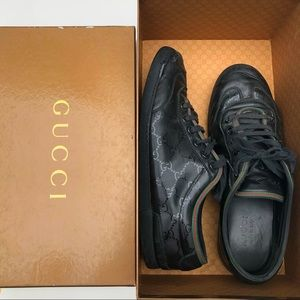 Gucci GG Black Leather Sneakers
